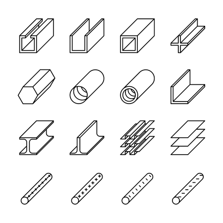 metallurgy: Rolled metal product icons. Rolled metal vector pictograms. Metal construction, steel metal industry, iron metal material, product metal pipe, metallurgy metal icon illustration
