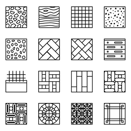 material: Floor material line vector icons. Material floor icon, construction material floor building, tile material floor, parquet material floor  set illustration