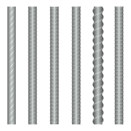 metal industry: Seamless vector steel rebars, reinforcements set. Steel metal rebar, construction rebar, strong rebar industry, material steel rebar illustration