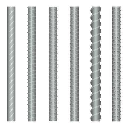 steel industry: Seamless vector steel rebars, reinforcements set. Steel metal rebar, construction rebar, strong rebar industry, material steel rebar illustration