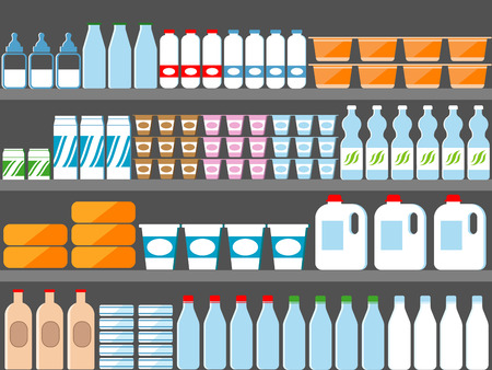rows: Store shelves with milk and dairy products. Vector illustration in flat style. Milk market, milk food, dairy food supermarket, milk store, milk bottle retail