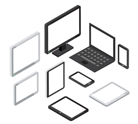 laptop computer: Isometric 3d computer and laptop, tablet pc and smartphone vector icons. Isometric device, tablet icon, laptop icon illustration Illustration