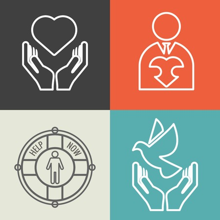 philanthropy: Charity, donation and volunteer concept backgrounds with vector line style. Charity icon, human charity help icon donate charity support illustration
