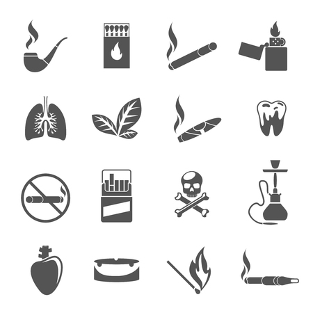 cigarette pack: Smoking icons and tobacco icons vector. Cigarette tobacco, addiction smoking, cigar tobacco illustration