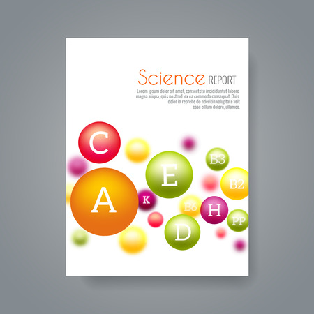 Science or medical brochure cover template with vitamins. Report science chemistry, vitamin science biology or biochemistry illustration