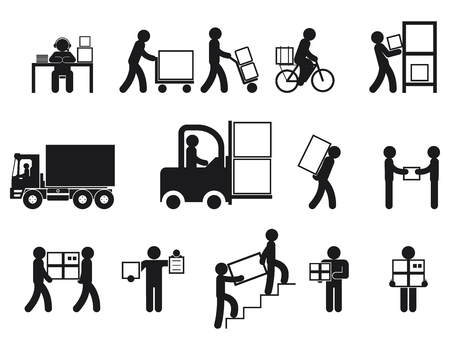 storage container: Logistic people pictograms. Logistic worker, man delivery, logistic business, vector illustration