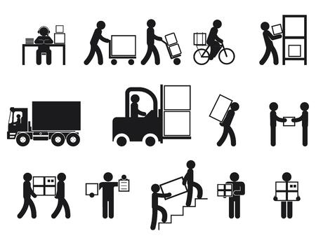 Logistieke mensen pictogrammen. Logistiek arbeider, man levering, logistieke bedrijfsprocessen, vector illustratie