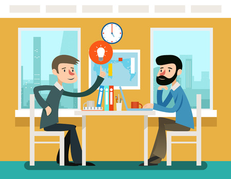 Communication strategy: Businessmen discussing strategy sitting at office desk. Vector illustration in flat style. Strategy businessman, discussion teamwork, meeting and communication illustration