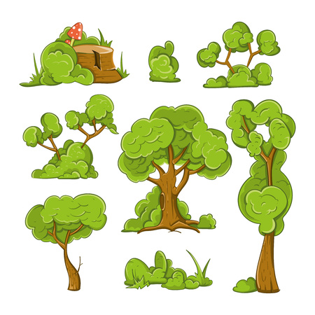 Cartoon drzewa i krzewy Wektor zestaw. Drzewo roślin, krzewów i zielone drzewa, las drzewo ilustracji