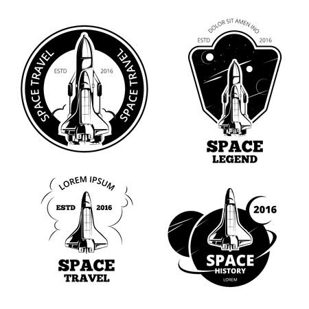 Ruimte astronaut badges, emblemen vector set. Space label schip, ruimteschip embleem, lancering ruimte schip vector illustratie