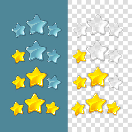interface: Ranking stars. Vector game elements in cartoon style. Rating star,  game star ranking gold, star success ranking, best ranking star interface illustration