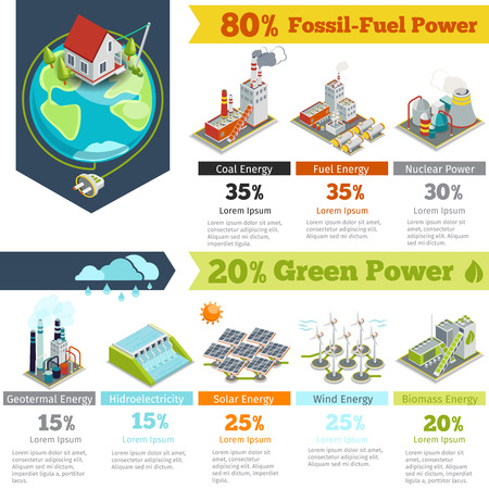 power generation: Fuel power and renewable energy generation infographics. Power generation infographic, electricity energy power generation, plant renewable power generation. Vector illustration