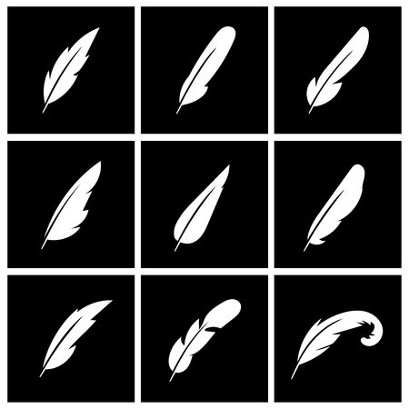 allegory: Vector feather on black background. Feather bird, writing feather, allegory feather sign illustration Illustration