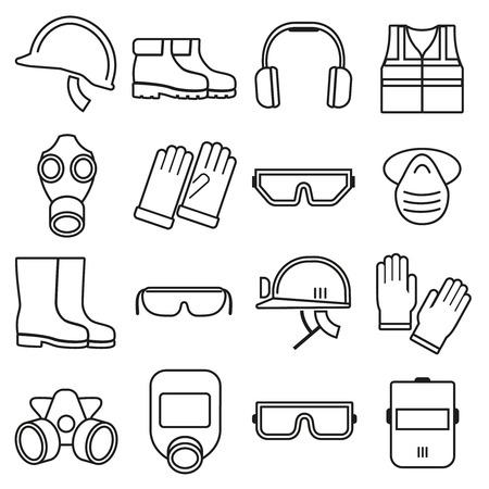 Linear Job Sicherheitsausrüstung Vektor-Icons gesetzt. Gerätesicherheit, Schutzhelm, der Industrie Sicherheit Illustration Vektorgrafik
