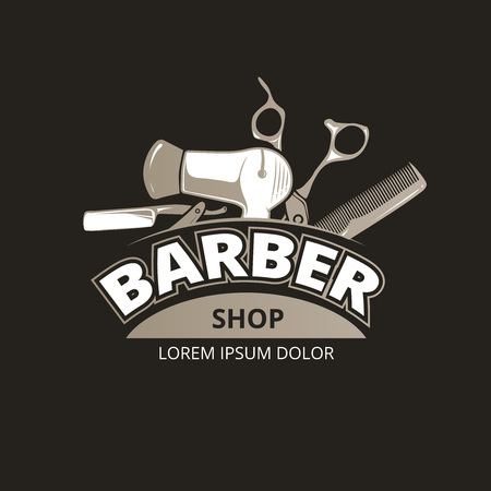 barber: Barber shop vintage background. Salon barber badge label, Barber shop service, banner barber shop, barber shop illustration Illustration