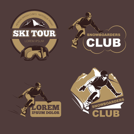 touring: Winter sports, snowboarding and skiing club vector emblems, labels, badges. Sport snowboarder, label snowboarder, badge snowboarder. Vector illustration
