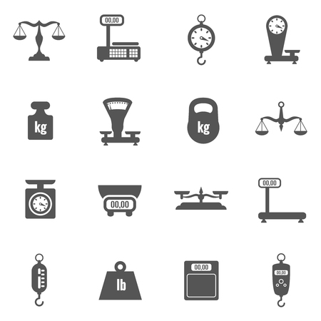 Scales, weighing, weight black vector icons set. Scale icon, balance scale measurement, tool scale set illustration Illustration