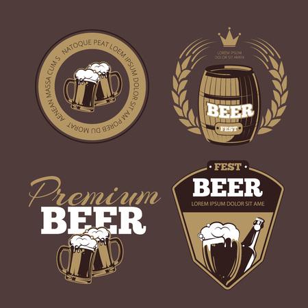 beer fest: Beer icons, labels, signs for posters and banners. Beer fest, premium beer, label beer illustration, beer alcohol bottle. Vector set