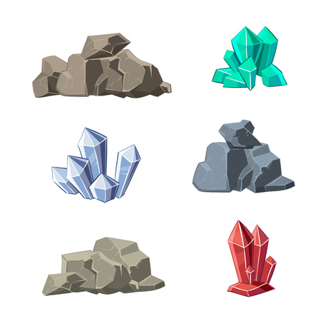 set in stone: Cartoon minerals and stones vector set. Stone mineral, cartoon mineral stone, natural mineral stone, crystal mineral stone illustration Illustration