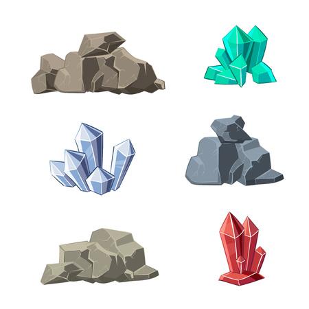 mineral stone: Cartoon minerals and stones vector set. Stone mineral, cartoon mineral stone, natural mineral stone, crystal mineral stone illustration Illustration