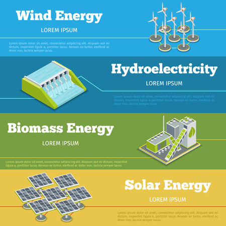 hydroelectricity: Renewable energy or eco energy infographics concept. Hydroelectricity renewable energy, biomass renewable energy,  windmill and solar renewable energy. Vector illustration