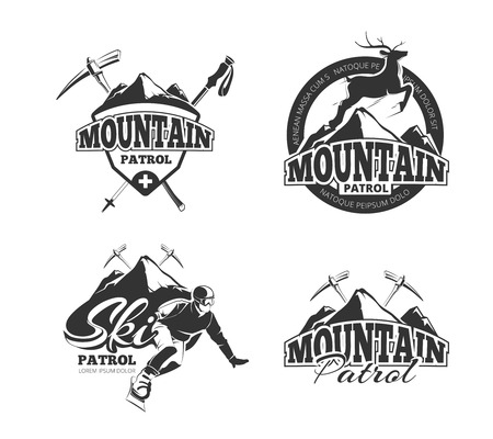 patrol: Vintage ski mountain patrol vector emblems, labels, badges. Badge mountain patrol,  winter mountain patrol, label mountain patrol, emblem mountain patrol illustration Illustration