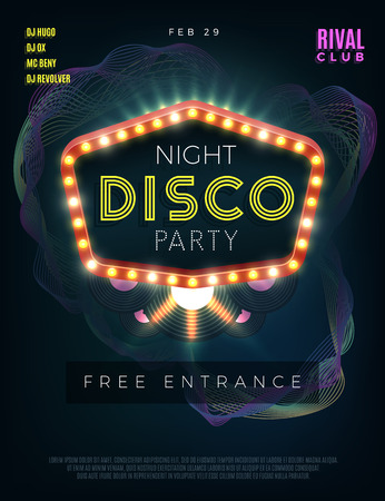 event party: Night disco dance party poster with glowing frame. Vector design template. Dance disco, disco party music, club event disco dance, poster disco party illustration