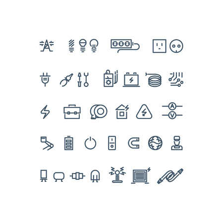 tools icon: Electricity outline vector icons. Electricity bulb, energy electricity, power electricity icon illustration