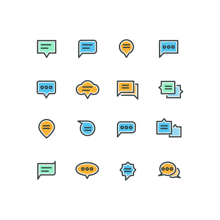 chat icons: Speech bubble outline color icons for web and mobile application. Bubble message speech, icon speech bubble, chat and talk speech bubble, communication speech bubble, vector illustration