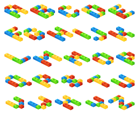 construct: Isometric 3D vector alphabet letters made of plastic cubes constructor. Constructor alphabet, education alphabet english, toy construct alphabet illustration