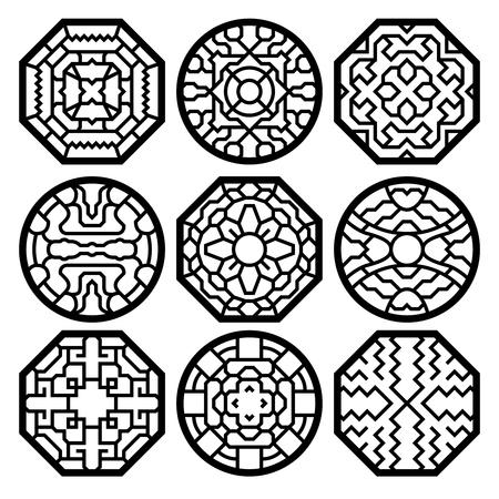 중국어, 한국어 전통 벡터 패턴입니다. 중국 전통 패턴, 한국어 패턴, 동양 프레임 패턴 요소 그림