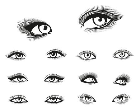 eye makeup: establecen vector mujer ojos. Mujer de los ojos, la belleza del ojo niña, ilustración maquillaje de ojos Vectores