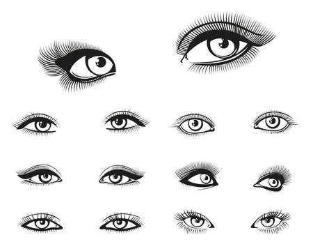open eye: Vector woman eyes set. Eye woman, girl eye beauty, makeup eye illustration Illustration