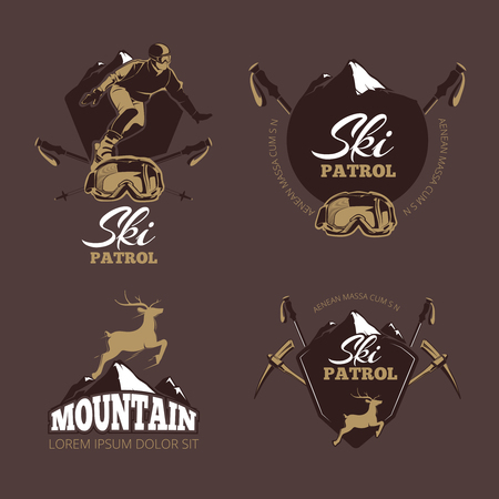 ski resort: Mountain climbing color vector labels. Ski Resort vintage. Patrol ski, snowboard patrol, mountain downhill, extreme patrol, deer label, badge ski patrol illustration