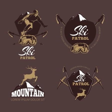 downhill: Mountain climbing color vector labels. Ski Resort vintage. Patrol ski, snowboard patrol, mountain downhill, extreme patrol, deer label, badge ski patrol illustration