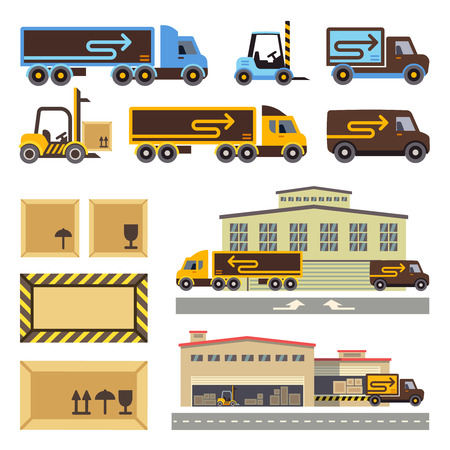 warehouse building: Warehouse building and transportation vehicles flat vector icons set. Building warehouse, business transportation, warehouse transportation, delivery transportation warehouse illustration