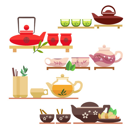 tea hot drink: Chinese tea ceremony flat vector icons. Tea chinese, ceremony drink tea, cup of tea, green tea, drink hot tea illustration Illustration