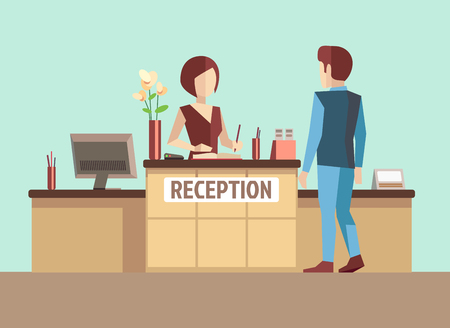business reception: Customer at reception. Vector concept in flat style. Reception service, reception desk, business reception office, receptionist hotel illustration