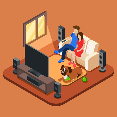 Family in the living room watching TV. 3d isometric people concept. Television and sofa, sitting together watching tv, watching television, family with dog looking television. Vector illustration