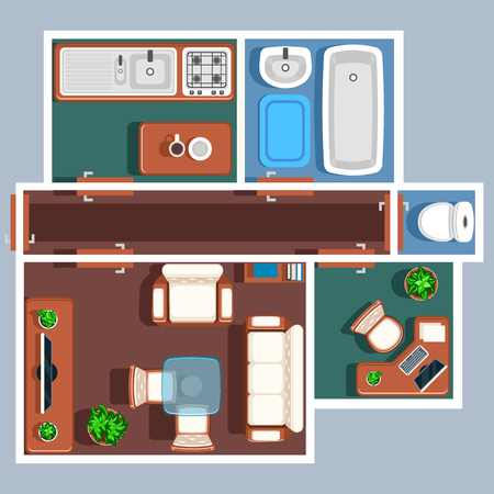 floorplan: Apartment floor vector plan with furniture. Plan apartment, bedroom apartment plan project, plan apartment room, apartment plan house illustration