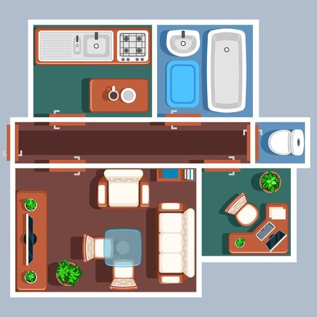 Appartement plancher plan de vecteur avec des meubles. Plan d'appartement, chambre projet de plan d'appartement, chambre Régime appartement, appartement maison plan illustration Vecteurs