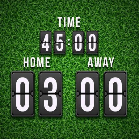 match: Football soccer scoreboard on grass background. Vector template. Scoreboard football, soccer scoreboard, sport scoreboard illustration