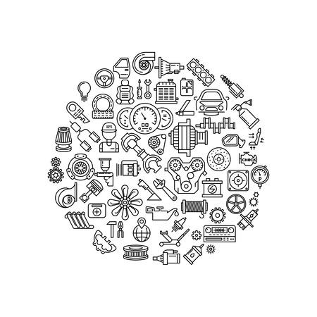 Auto repuestos alinean los iconos del vector en la composición del círculo. pieza de automóvil coche detalle de recambio, reparación de parte de detalle, detalle engranaje automático, automático de freno detalle ilustración