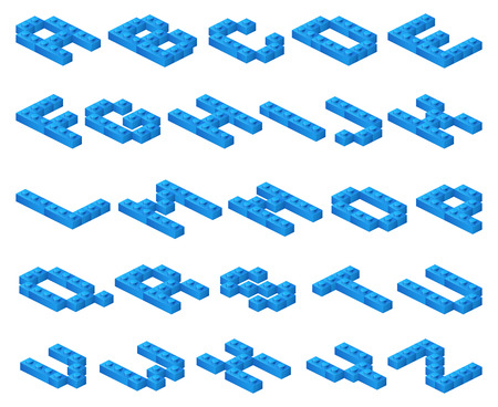 constructor: Isometric 3D vector font of plastic blue cubes constructor. Toy constructor alphabet, abc constructor typeface, childhood constructor abc, structure block abc illustration