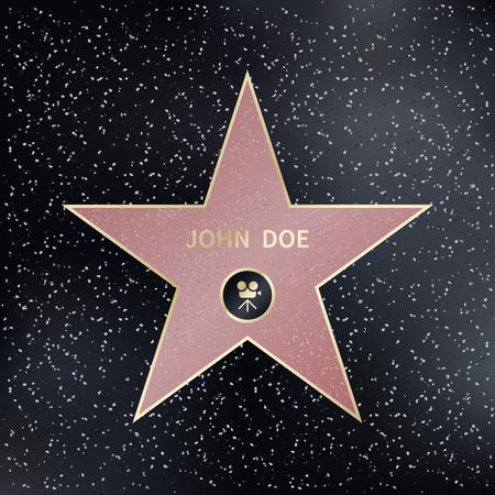 producer: walk of fame star. Star fame, star, famous star producer, actor star. Vector illustration