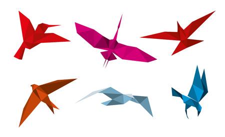 figuras abstractas: pájaros de origami vector. Vuelo animal paloma, mosca decoración de pájaro, paloma de papel de aves, aves de origami ilustración golondrina Vectores
