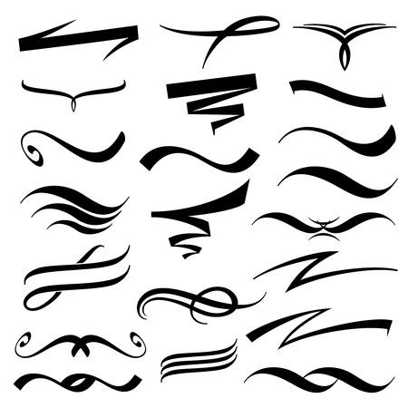 Vector lettering underlines collection. Underline element, underscore and underline drawing, underline illustration