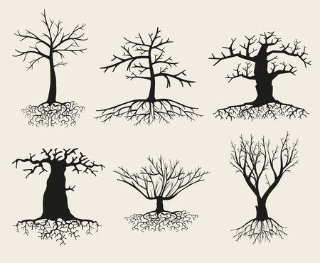 crooked: Vector bare tree silhouettes with roots. Branch tree, root tree set, plant tree bare illustration