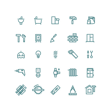 home equipment: Home repair outline icons. Repair home icon, house repair icon, construction home icon, repair equipment icon illustration