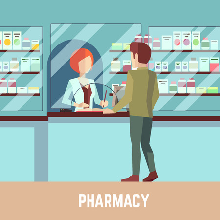 buying: Pharmacy drugstore with pharmacist and customer. Health care concept background. Retail pharmacy, drugstore pharmacist, customer pharmacy, professional pharmacy illustration Illustration